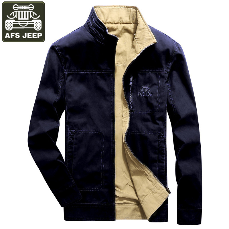 Winter Jacket Men Windbreaker Both Side Wear Military Casual Coat Men Stand Collar Cotton Breathable Mens Jackets Big Size M-4XL