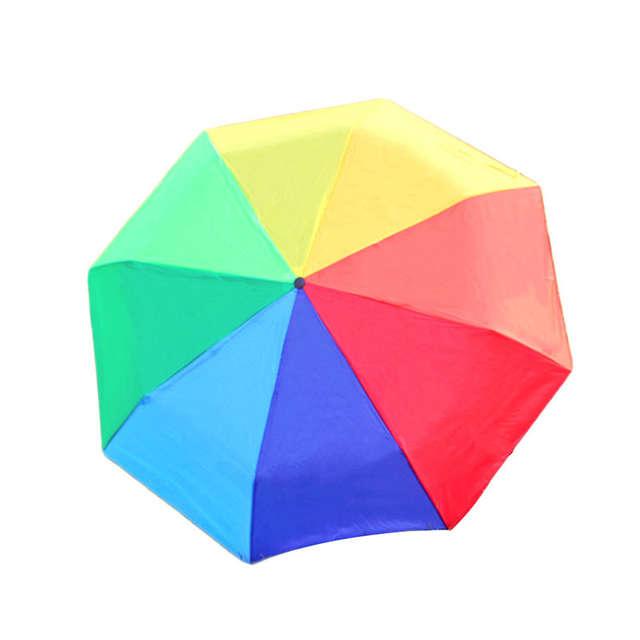 fef8aa9cbb8a Rainbow Fold Umbrella Rain Women and Men Umbrella Non-automatic Popular  Creative Three Folding for Adults Children