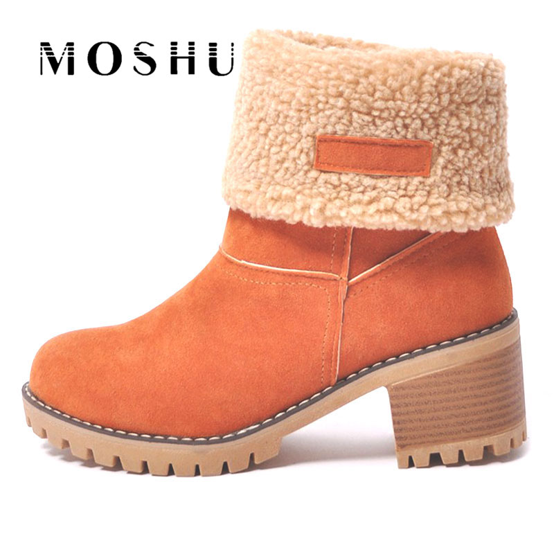 Women Winter Snow Boots Warm Fur Cotton Ankle Boots Wedges Platform Fashion Square High Heels Boots Shoes Women Large Size women winter warm snow boots cotton shoes hidden wedges heel increased ankle snowshoes lt88