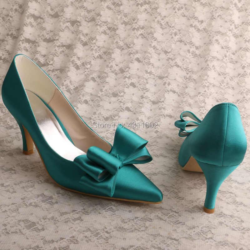 Bows Mid Heel Pointed Toe Ladies Pumps