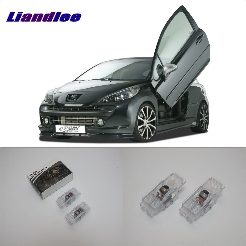 Liandlee Car Logo Light Door Welcome Lights Ghost Shadow Projector Lamp For Peugeot 207 (A7) 2006~2016 LED Courtesy Doors Lamps