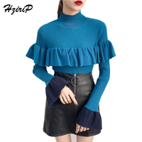 HziriP Turtleneck Knit Sweaters And Pullovers 2018 Spring New Spell Color Flare Sleeve Flounced Base Tops