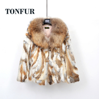 2019 New Natural Pure Rabbit Fur Coat with Luxury Big Real Genuine Raccoon Fur Collar Customize Plus Size Fur Jackets TSR256