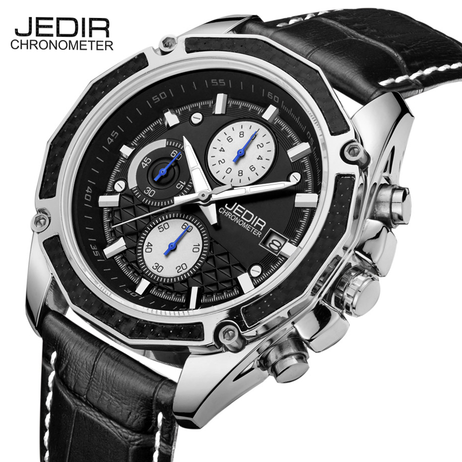 Genuine JEDIR quartz male watches Genuine Leather watches racing men Students game Run Chronograph Watch male glow hands  jedir brand men sports watches 2017 genuine leather military wristwatch racing men chronograph watch male glow hands clock