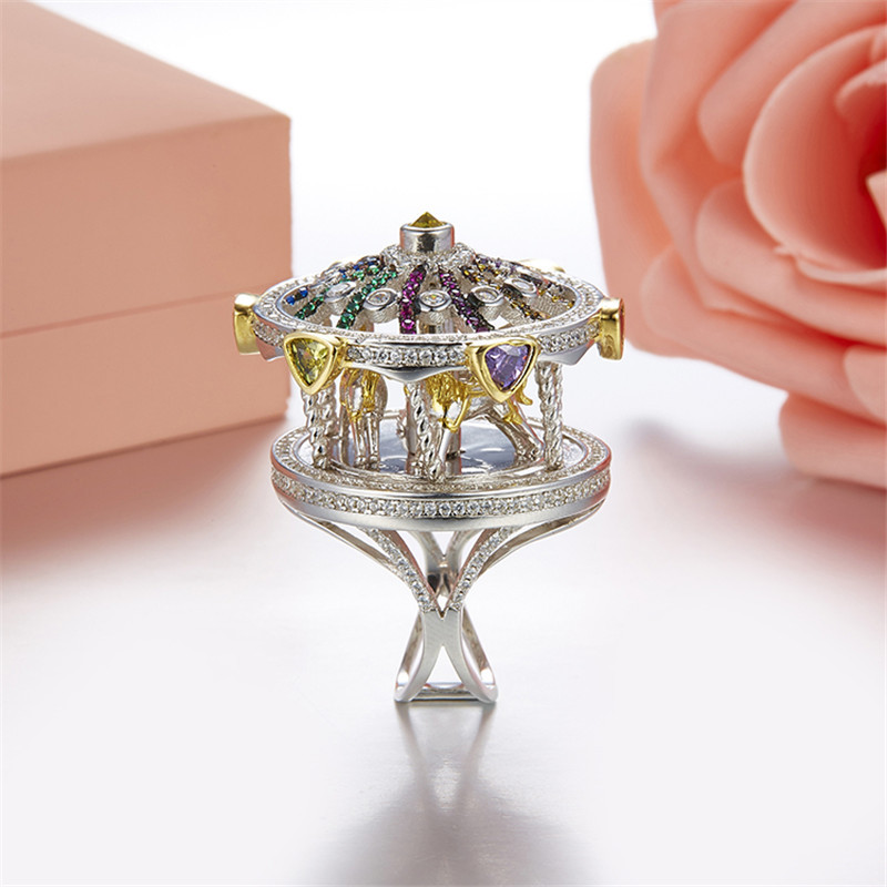 Dazz S925 anneaux en argent de luxe carrousel incrusté à la main Zircon anneau mignon romantique femmes fille fête vacances accessoires meilleur cadeau 2019