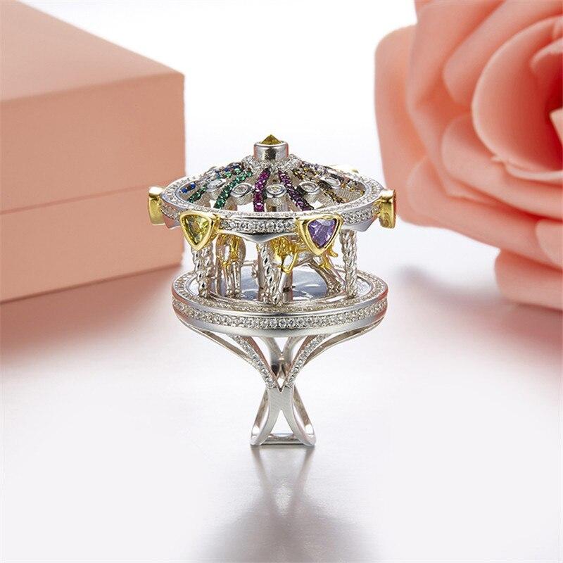 Dazz s925 prata anéis de luxo carrossel mão incrustada zircão anel bonito romântico feminino menina festa acessórios do feriado melhor presente 2019