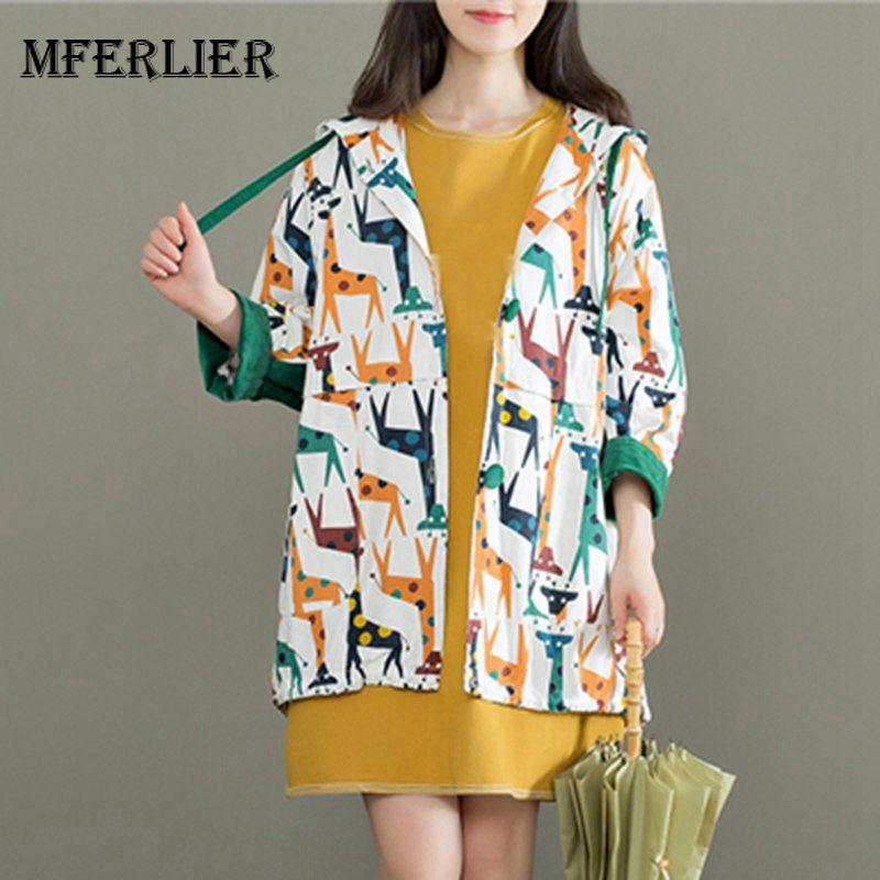 Mferlier   Trench   Coat For Women Hooded Long Corduroy Splice Sleeve Giraffe Print Mori Girl Autumn Cotton Linen   Trench   Coat
