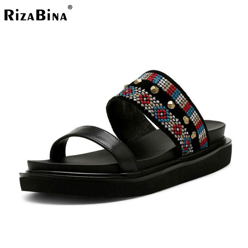 RizaBina National Style Women Genuine Leather Falts Sandals Bohemia Rivet Flats Slipper Summer Shoes Women Footwears Size 34-39 mnixuan  women slipper sandals genuine