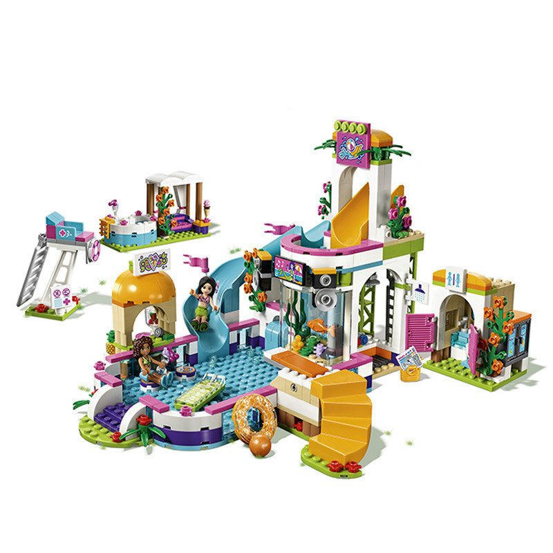 Compatible with Legoingly Friends 41313 01013 589pcs building blocks The Heartlake Summer Pool Bricks figure toys for children waz compatible legoe friends 41313 lepin 01013 589pcs building blocks the heartlake summer pool bricks figure toys for children