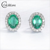 Classic Genuine Emerald Earrings 4mm *6mm Natural SI Grade Emerald Stud Earrings Solid 925 Silver Emerald Earring for Wedding