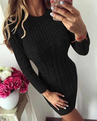 Wontive модный вязаный свитер с круглым вырезом и длинным рукавом платье для идеального тела женское платье-свитер