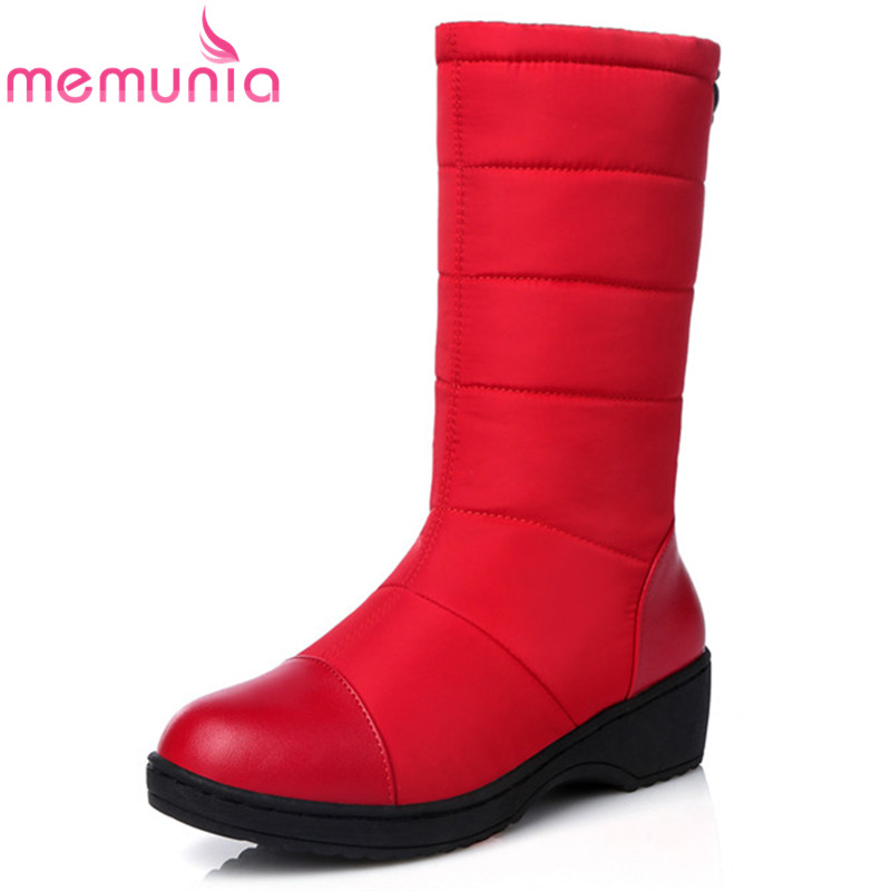 MEMUNIA fashion new arrive women boots red black Navy Blue snow boots solid color mid calf boots round toe wedges boots big size 34 43 advanced nubuck leather mid calf fashion round toe wedges boots for women 5 color new women boots