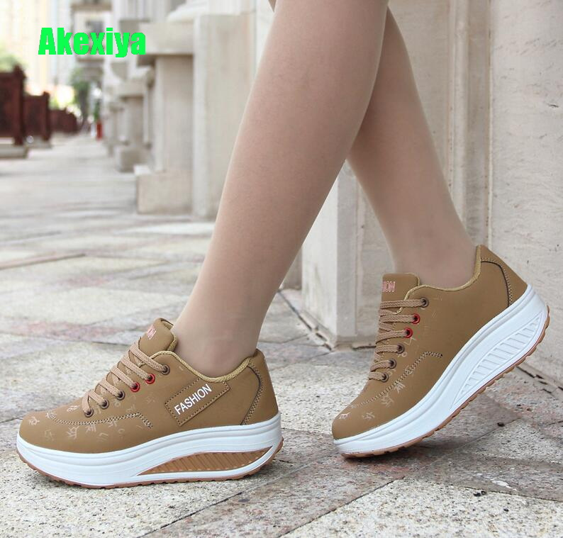 Hot Women Sneakers 2019 Breathable Waterproof Wedges Platform Vulcanize Shoes Woman Pu Leather Women Casual Shoes tenis feminino(China)