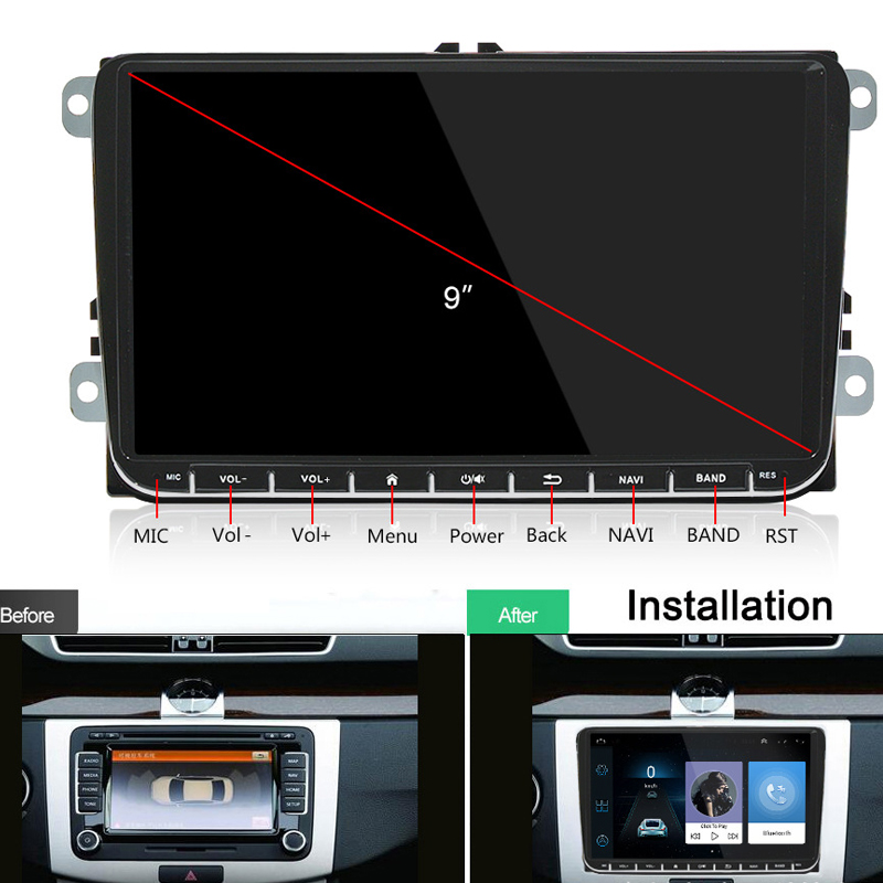 Lecteur multimédia de voiture Radio Android 2Din pour VW Volkswagen Passat lecteur DVD de voiture pour Skoda Octavia Golf tiguan Touran gps navi
