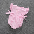 2017 Children Baby Stripe Bodysuits Baby Girls Cute Summer Pink Bow Knot Short Sleeve Cotton Jumpsuit Climbling Clothes