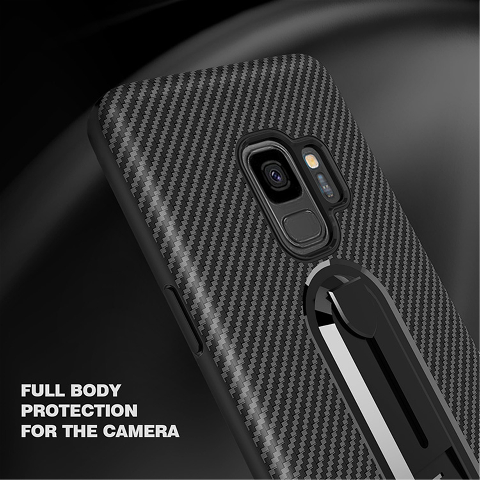 For Samsung Galaxy S9 Plus Luxury Armor Case TPU Carbon Fiber Texture Stand Holder J4 J6 2018 J5 J7 Prime 2017 Cover Phone Cases