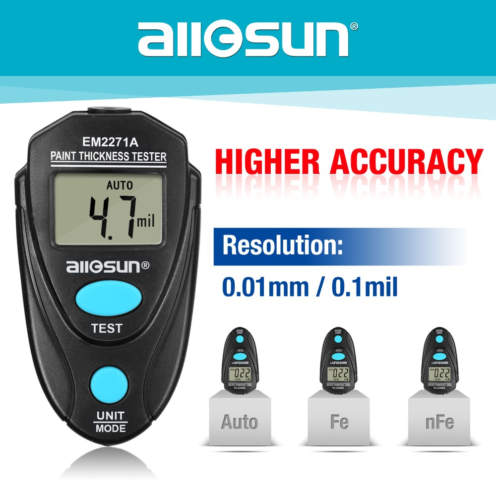 all-sun Upgrated Digital Thickness Gauge Fe/NFe 0.00-2.20mm Coating Meter Car Thickness Meter EM2271A