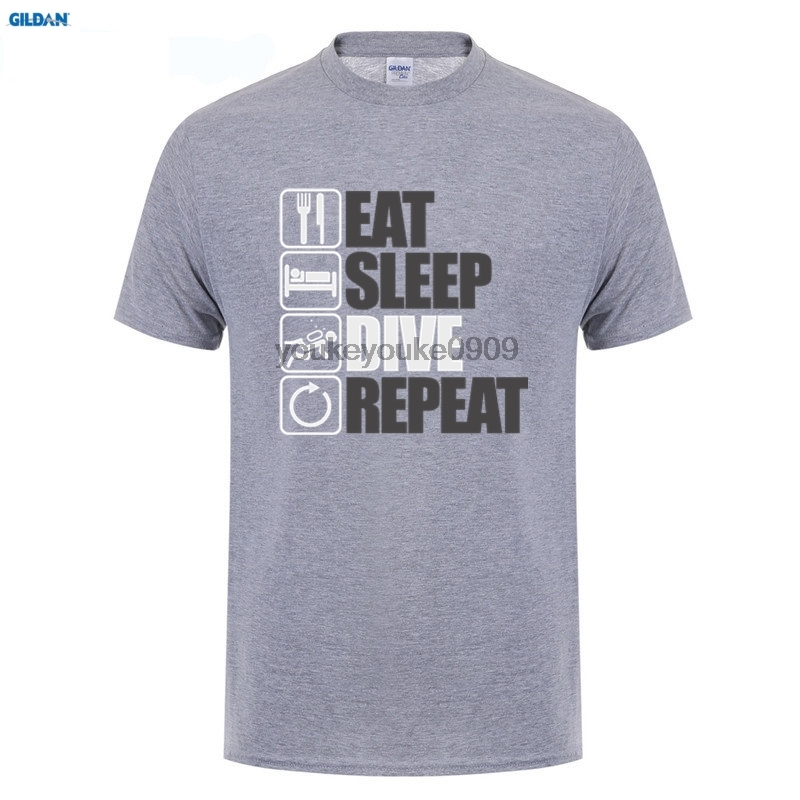 GILDAN Online T Shirts Design Short Top Eat Sleep Dive Repeat Scuba Divinger Gift For Him Dad Fathers Day O-Neck Mens T Shirt