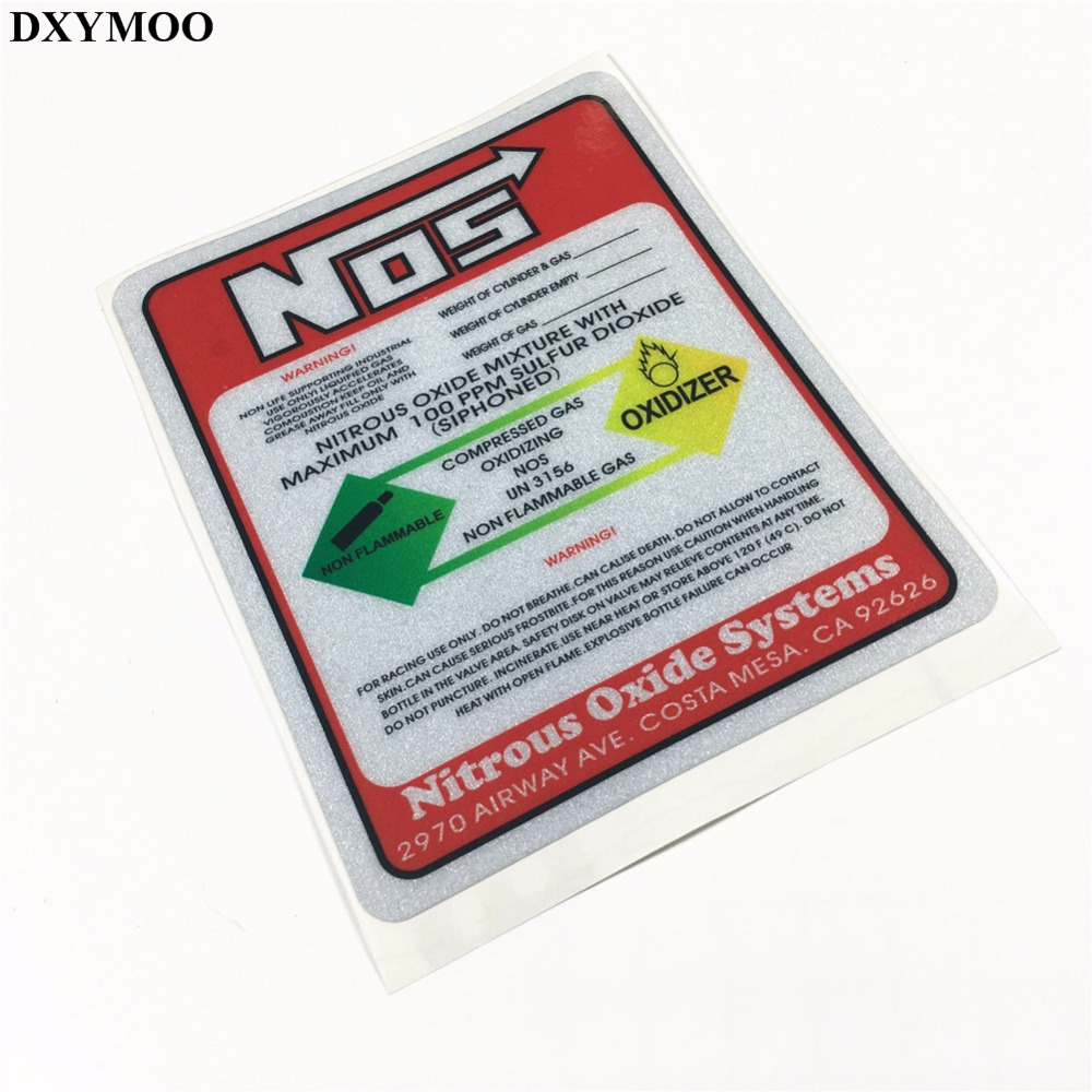 Car Styling Reflective Motorcycle Car Sticker Decals Viny for Warning NOS Nitrous Oxide Systems OXIDIZER