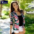 Mujeres de la chaqueta Floral 2016 nuevas mujeres de la chaqueta para mujer con estilo impreso Floral Casual un botón juego delgado escudo Outwear