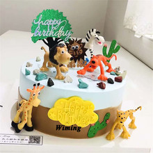 africa wild animals cake topper birthday gifts for baby kids children farm toys decorating cupcake toppers