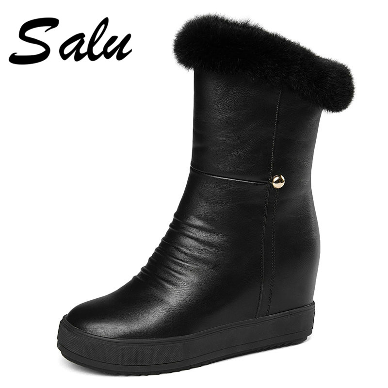 Salu 2018 new arrival ankle boots women round platform shoes ladies winter snow boots waterproof black white snow boots platform bowkont flocking snow boots page 8