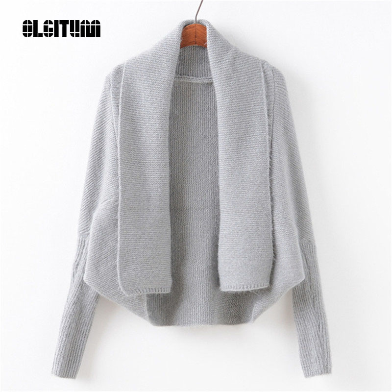 OLGITUM 2018 fashion lapel solid color irregular sweater women loose bat sleeve horse se ...