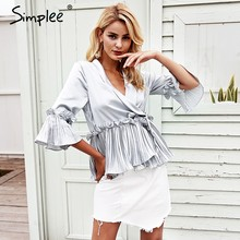 Simplee Fashion v neck ruffles peplum top Elegent pleated white blouse shirt office Satin flare long sleeve ladies women blouses(China)