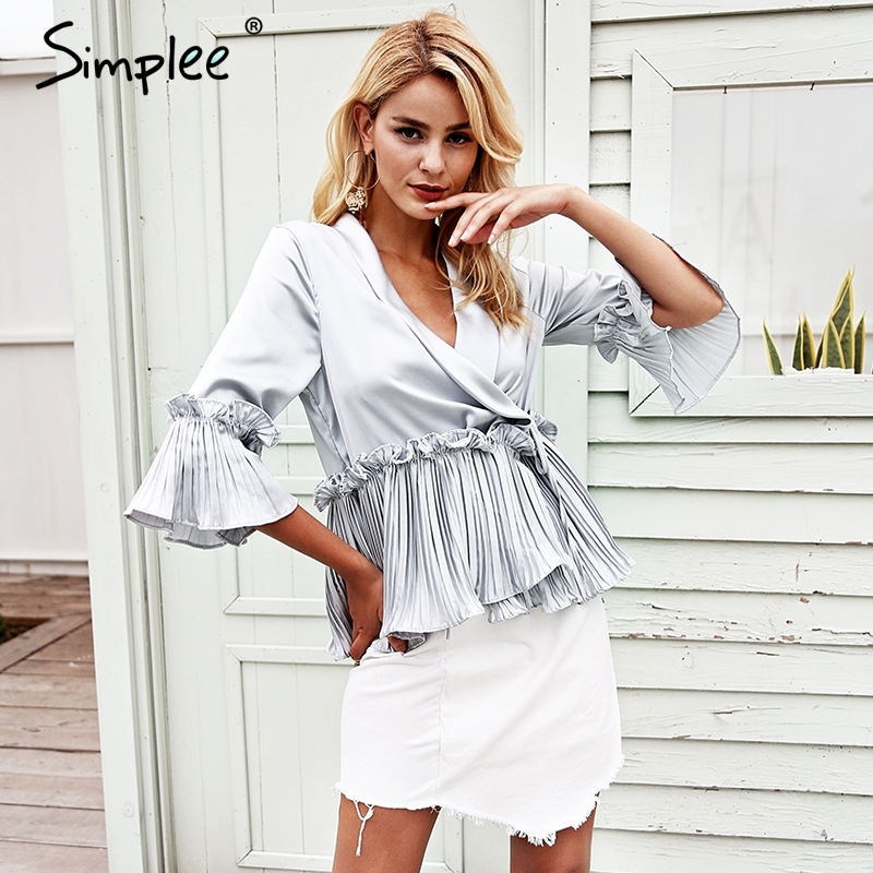 Simplee Fashion v neck ruffles peplum top Elegent pleated white   blouse     shirt   office Satin flare long sleeve ladies women   blouses