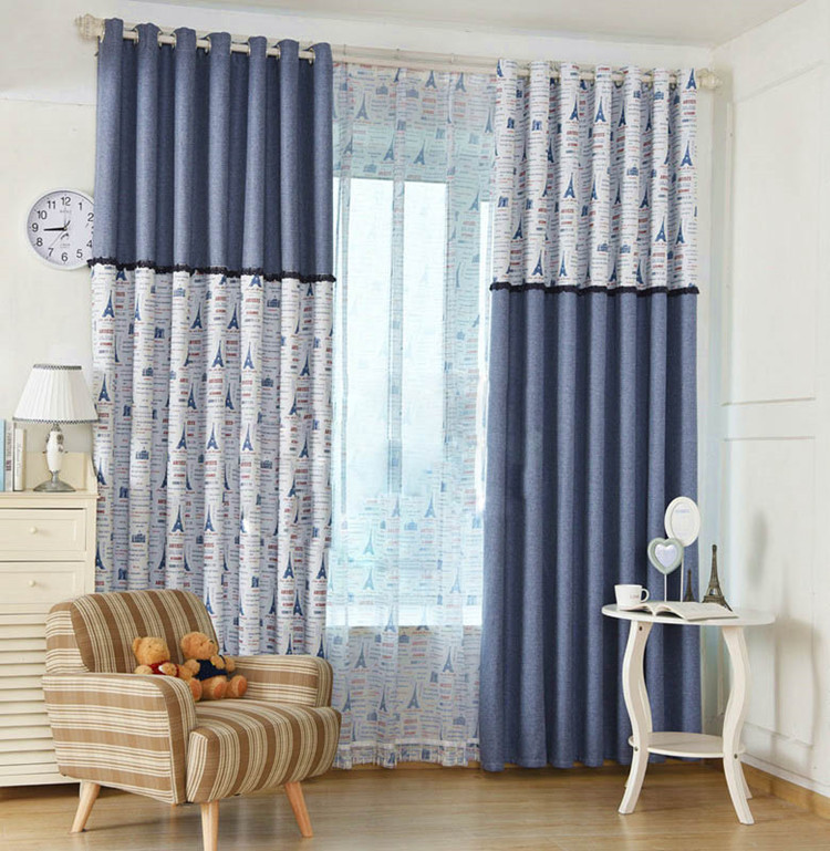 Home Garden High End Eiffel Tower Linen Window Curtains