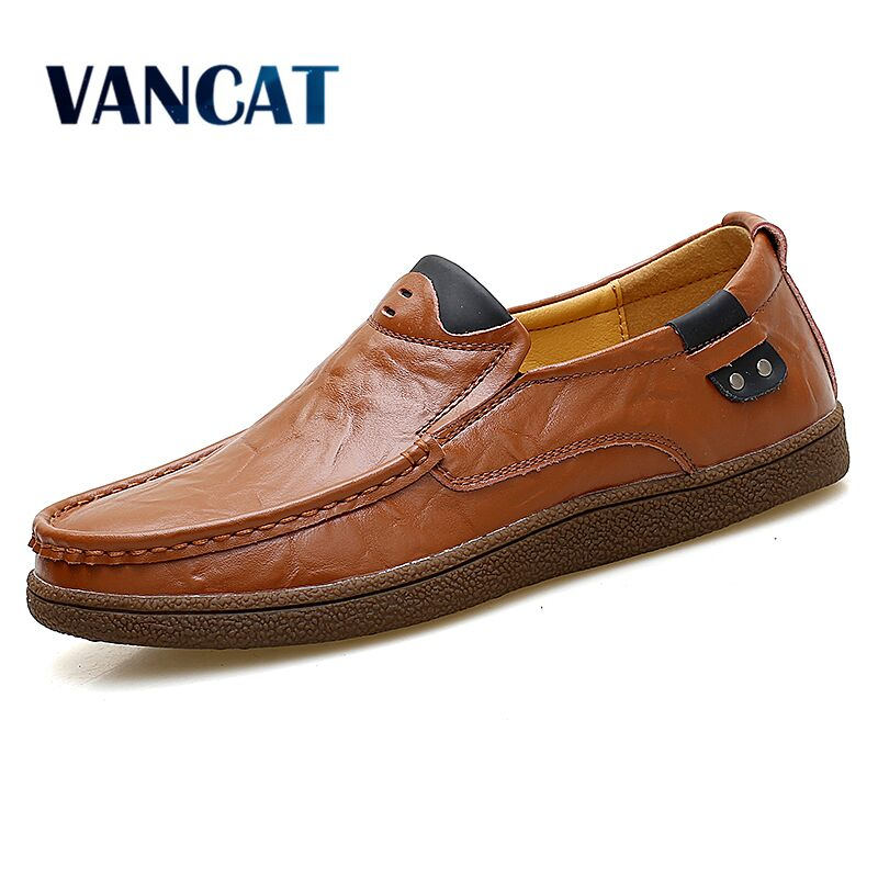 Vancat Brand Men Shoes Big Size 38-47 Men Driving shoes Casual Shoes Loafers High Quality Genuine Leather Lace Up Man Flats Shoe big size men work casual shoes fashion mens loafers luxury genuine leather lace up flat father driving shoes lmx b0024