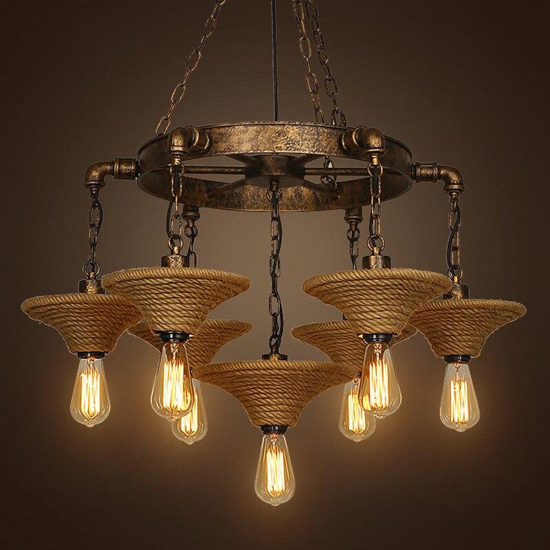 Rétro corde pendentif lumières forgé loft américain restaurant bar vêtements magasin décoration industrie vent 7 phares lampes ZA GY45
