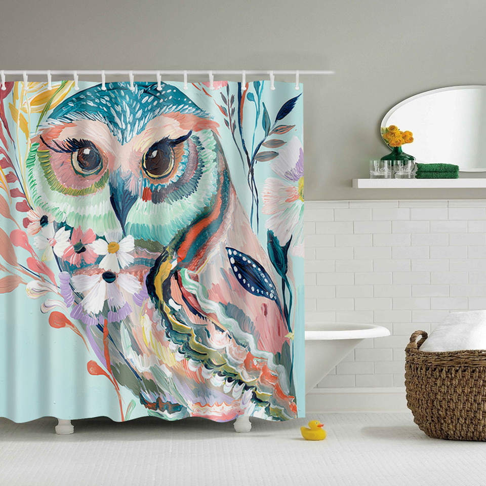 Svetanya Owl Print Shower Curtains Bath Products Bathroom Decor With Hooks Waterproof 71x71 China