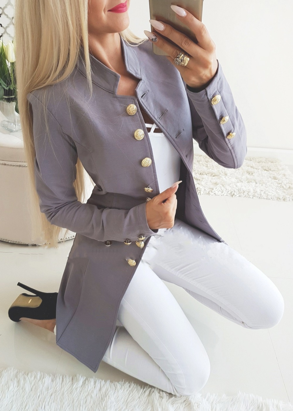 2019 Autumn New Brand Women   Trench   Coat Long Windbreaker Europe America Fashion Casual Trend Single breasted Slim Long   Trench