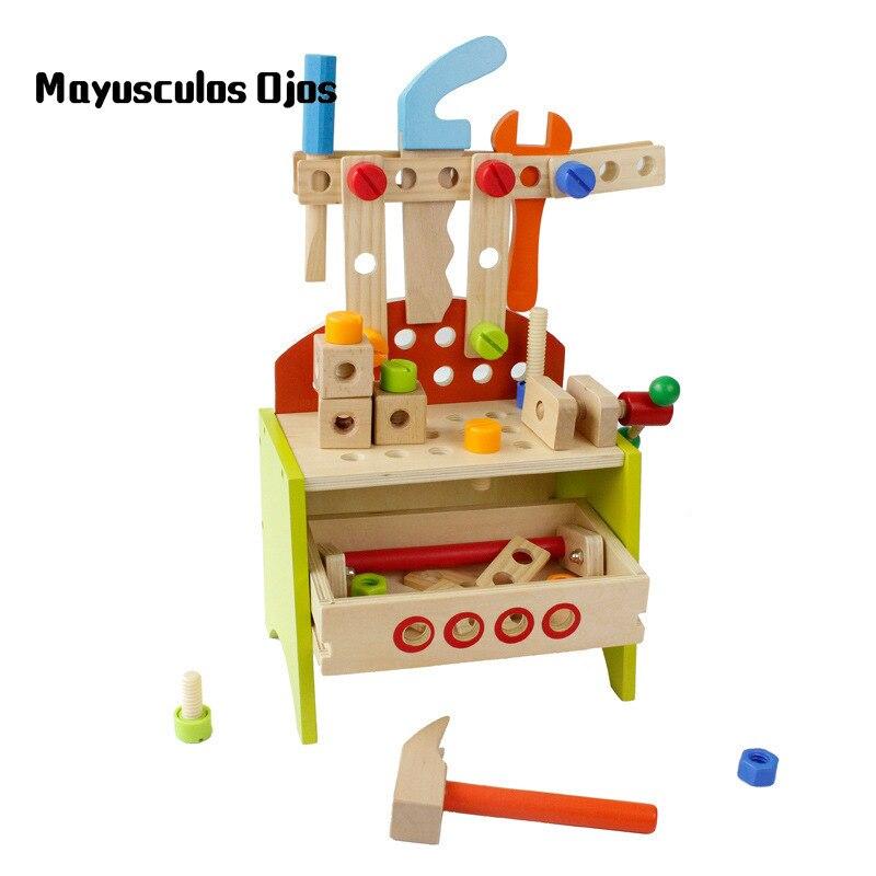 Streng Zh 1 Set Holz Multi-funktion-tool Stehen Baby Reparatur Toolbox Kinder Frühe Lernen Spielen Haus Pädagogisches Spielzeug Schraubklötze