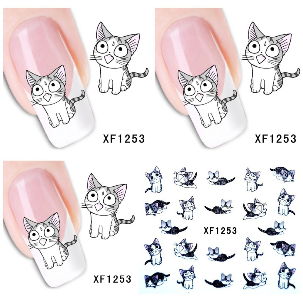 1 Aheet XF1253 Cartoon Watermark Water Transfer Design Lovely Cute Cat Tip Nail Art Sticker Nails Decal Manicure Tools sweet manicure decal accessory cartoon nail sticker for children
