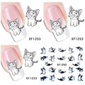 1 Aheet XF1253 Cartoon Watermark Water Transfer Design Lovely Cute Cat Tip Nail Art Sticker Nails Decal Manicure Tools