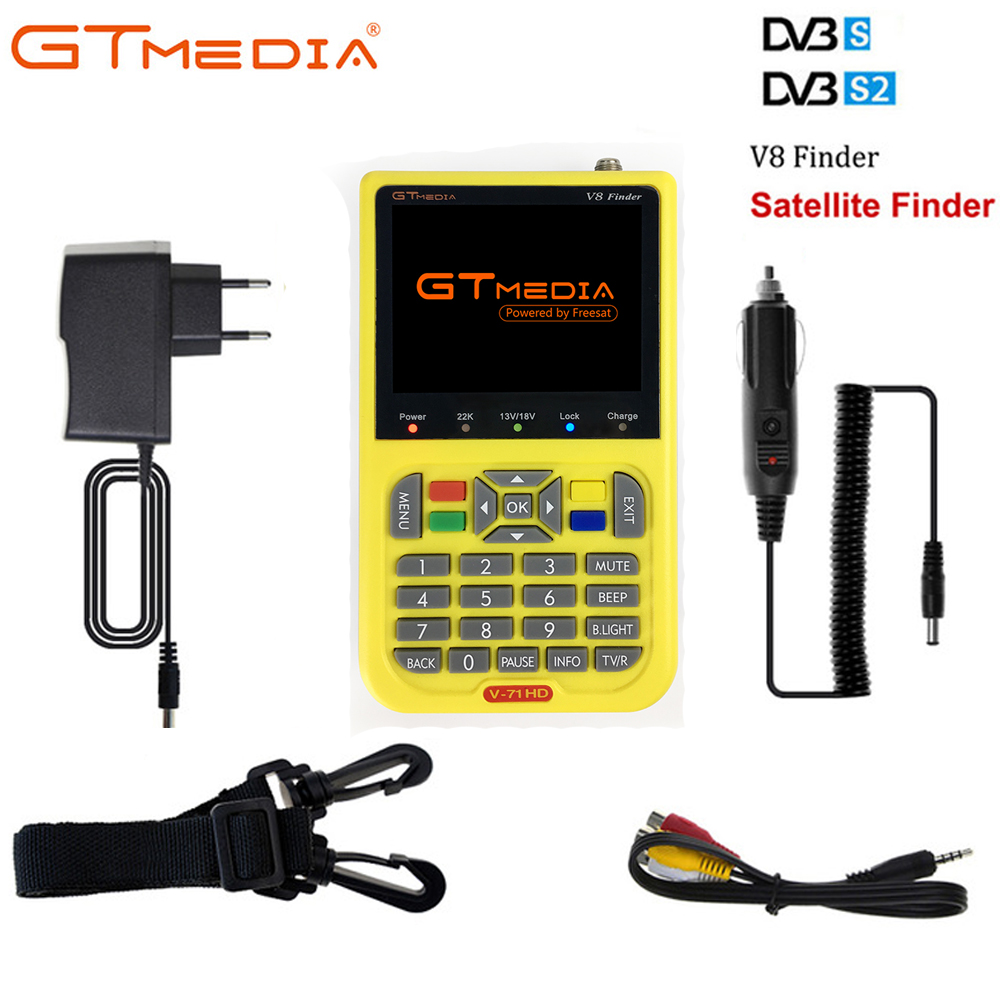 GT MEDIA /Freesat V8 Finder HD DVB-S2 Digital Satellite Finder High Definition Sat Finder DVB S2 Satellite Meter Satfinder 1080PGT MEDIA /Freesat V8 Finder HD DVB-S2 Digital Satellite Finder High Definition Sat Finder DVB S2 Satellite Meter Satfinder 1080P