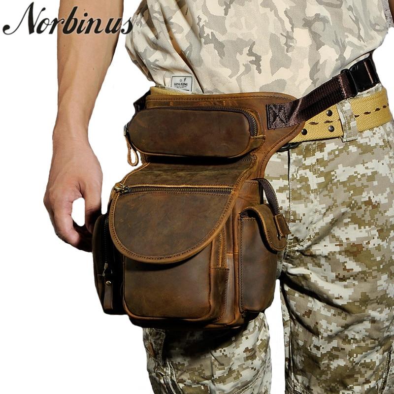 купить Norbinus Genuine Leather Waist Bags Thigh Drop Leg Bag Men Military Motorcycle Shoulder Messenger Bag Male Hip Belt Fanny Packs недорого