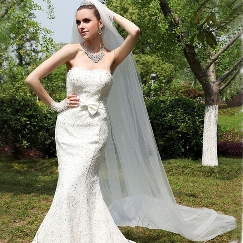 One-Layer wedding long veil 10 Meter wedding veil with comb white bridal veils mesh veils for bride WAS10034-3