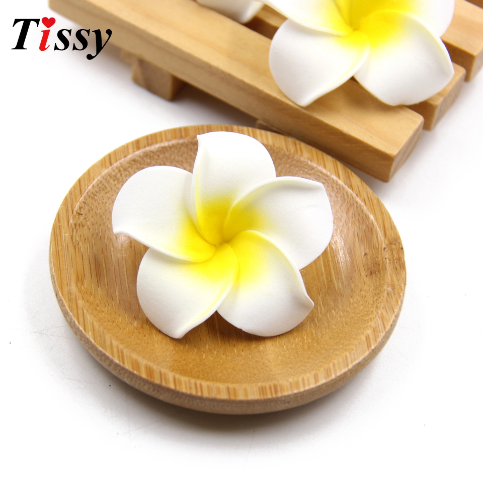 100PCS White Plumeria Hawaiian Artificial Flowers Foam Flowers Fake Egg Flowers Wedding Decoration Party Supplies DIY Wreath