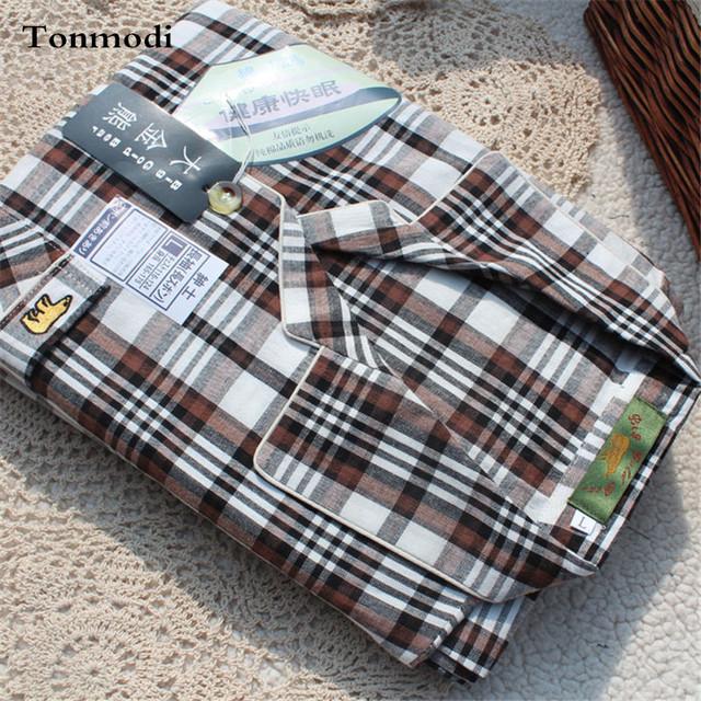 Pijamas Para Hombres Primavera Y Otoño Pijama de Los Hombres 100% Algodón Tela Tejida de Algodón A Cuadros ropa de Dormir de Salón de Los Hombres Conjuntos de Pijamas Ropa de Dormir hombres