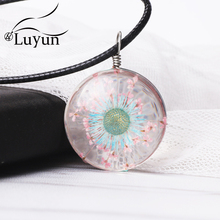 Luyun 2019 Hot New Fashion Glass Ball Dried Flower Necklace Summer Style Real Dry Valentines Gift