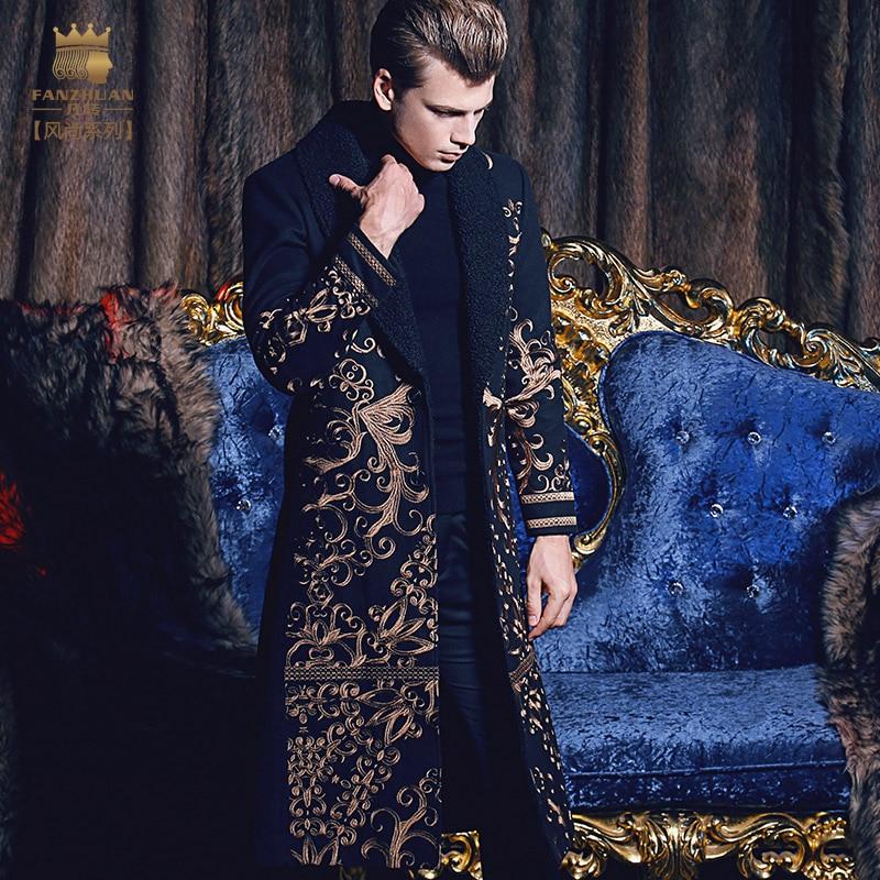 Free Shipping fanzhuan New 2019 fashion casual man male Men's long slim warm coat autumn winter embroidery Baroque 710171