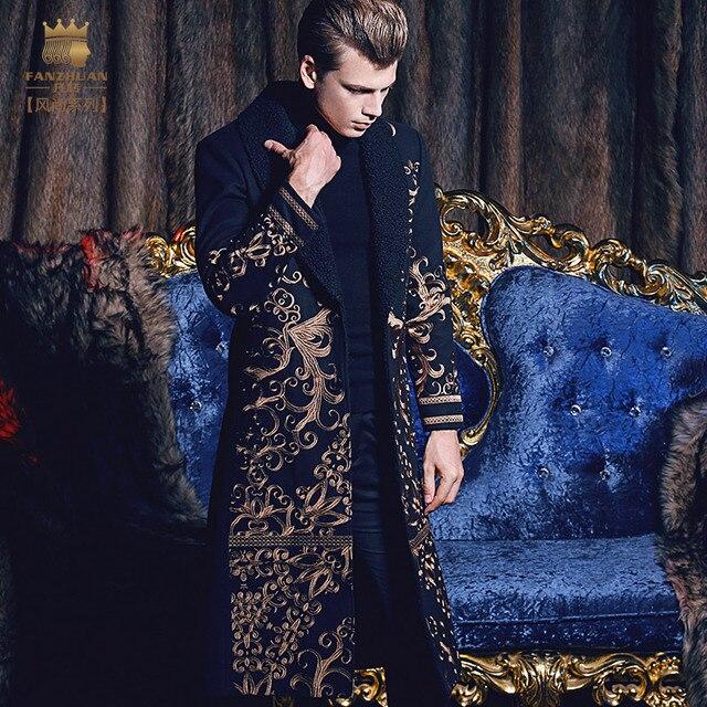 Бесплатная доставка fanzhuan Новый 2017 мода повседневная мужчина Для мужчин длинный тонкий теплая куртка на осень-зиму вышивка барокко 710171
