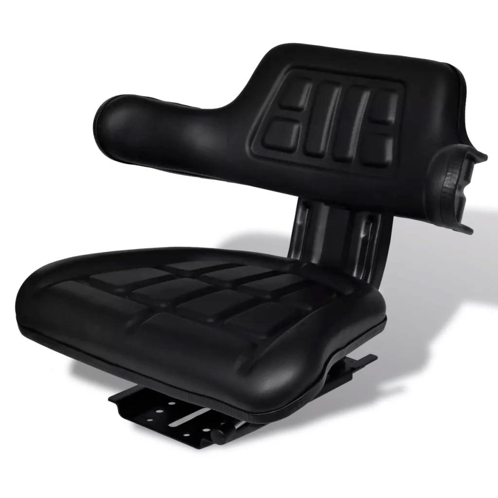 VidaXL Tractor Seat With Backrest And Armrests Longitudinal Adjustment Black With A Sliding Slide Durable Waterproof Cover V3