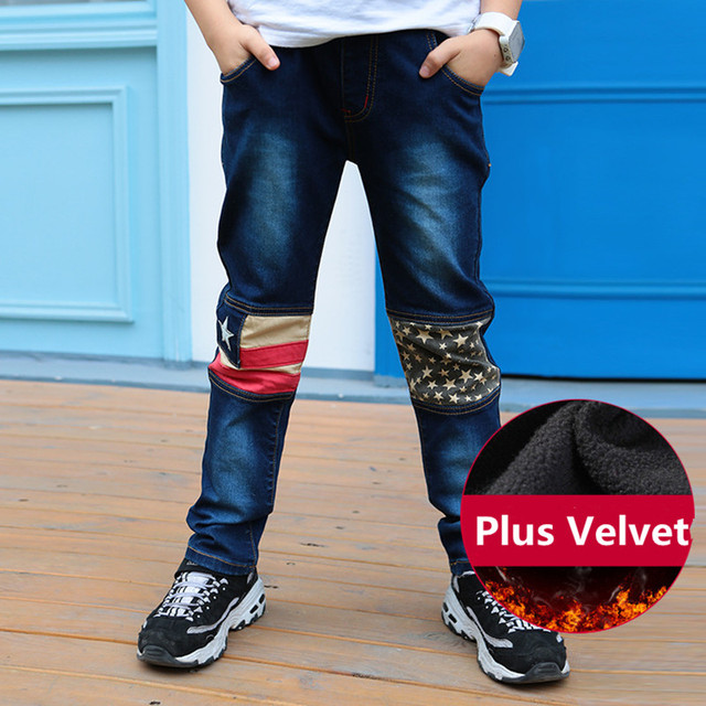 New Arrivals Korea Style 2016 Kids Boys Denim Jeans Fashion Elastic Waist Thick Velvet Children's Trousers Boy's Pants Winter