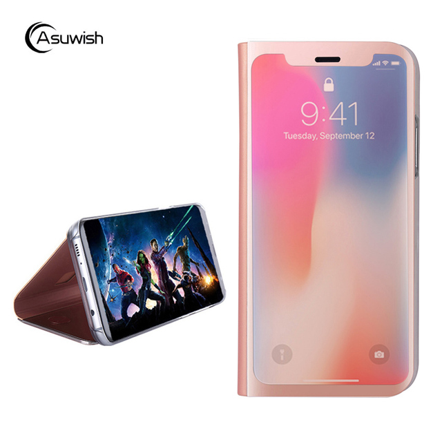 size 40 be5d9 d21ad US $4.48 10% OFF|Clear View Mirror Leather Flip Case For Apple iPhone X 10  iPhoneX iPhone10 Luxury Kickstand Shockproof Full Cover Phone Case-in Flip  ...