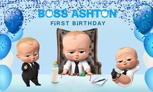 Image 4 - Xq0011 azul bokeh balões crianças festa de aniversário backdrops foto personalizada fundo chefe fotografia do bebê photocall primeiro aniversário