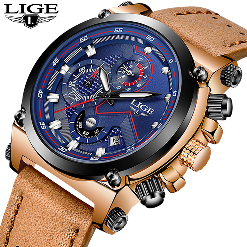 2019 LIGE montres homme Top Marque De Luxe montres à quartz Hommes Militaire décontracté En Cuir Étanche chronographe de sport Horloge Reloj Hombre